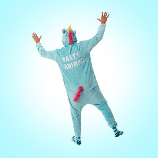 Wasted monkey unicorn onesie party animal achterkant