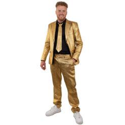 Goud metallic kostuum 3 delig