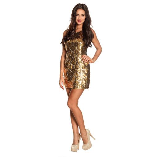 Gouden jurk pailletten sfeer