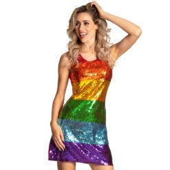 Regenboog glitter discojurk