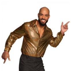 Shiny overhemd mannen goud