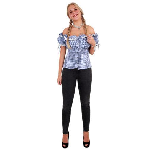 Tiroler blouse dames blauw wit