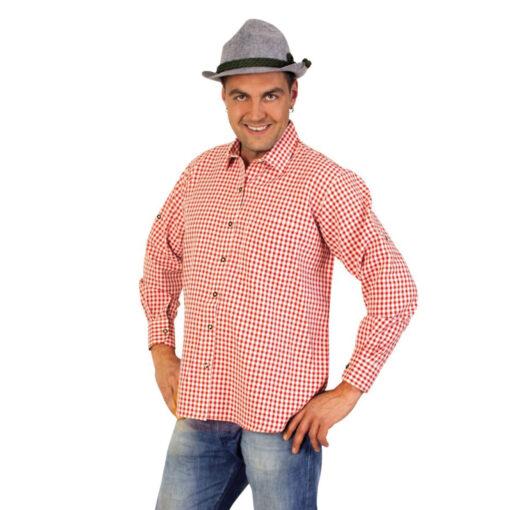 Tiroler blouse heren rood wit