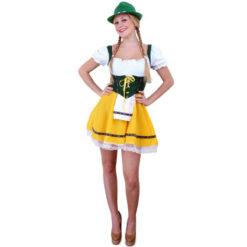 Tirolerjurk groen geel dames