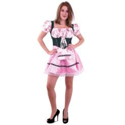 Tirolerjurk roze groen dames